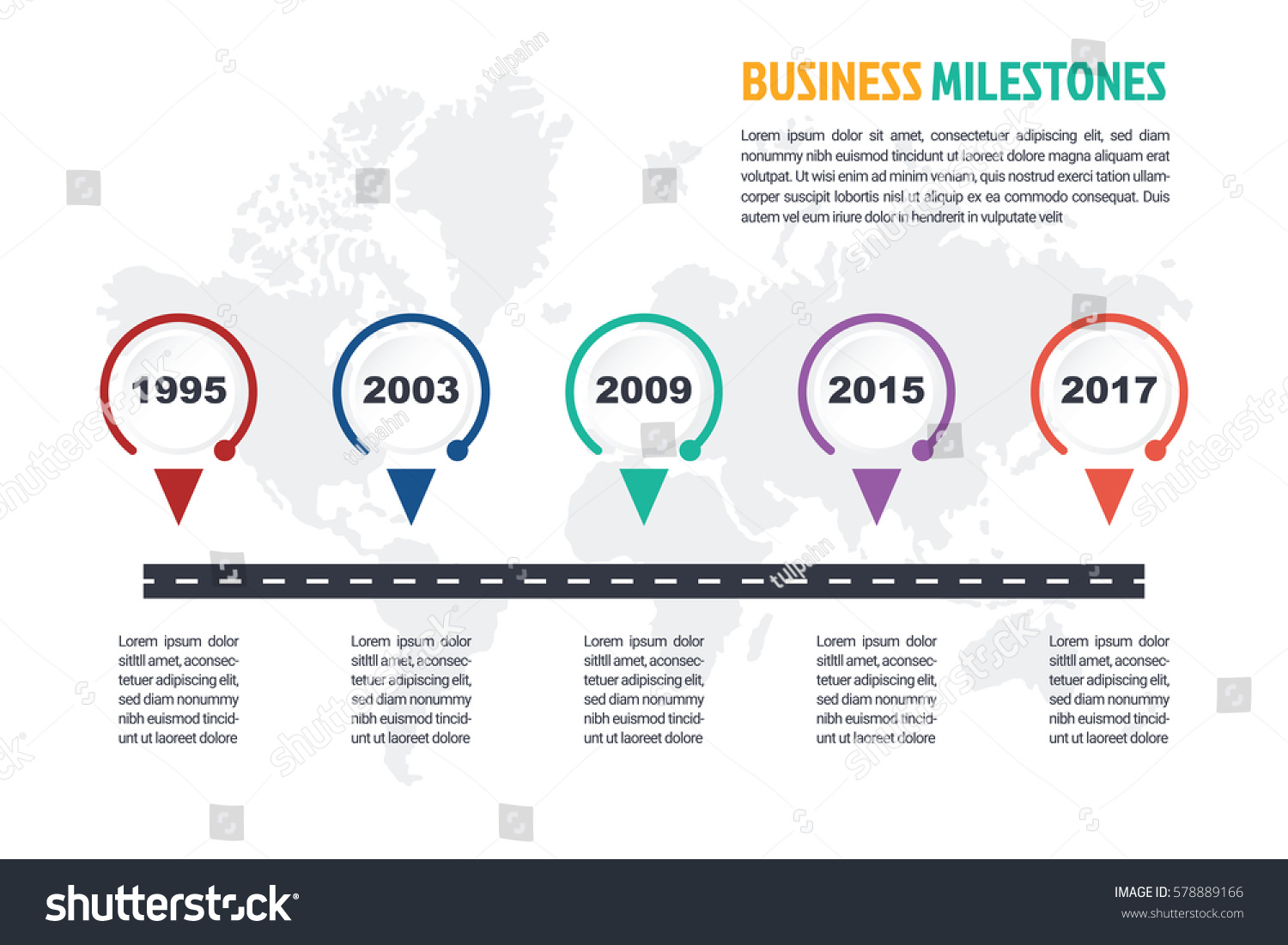 business minimal infographic template 5 steps stock vector 578889166