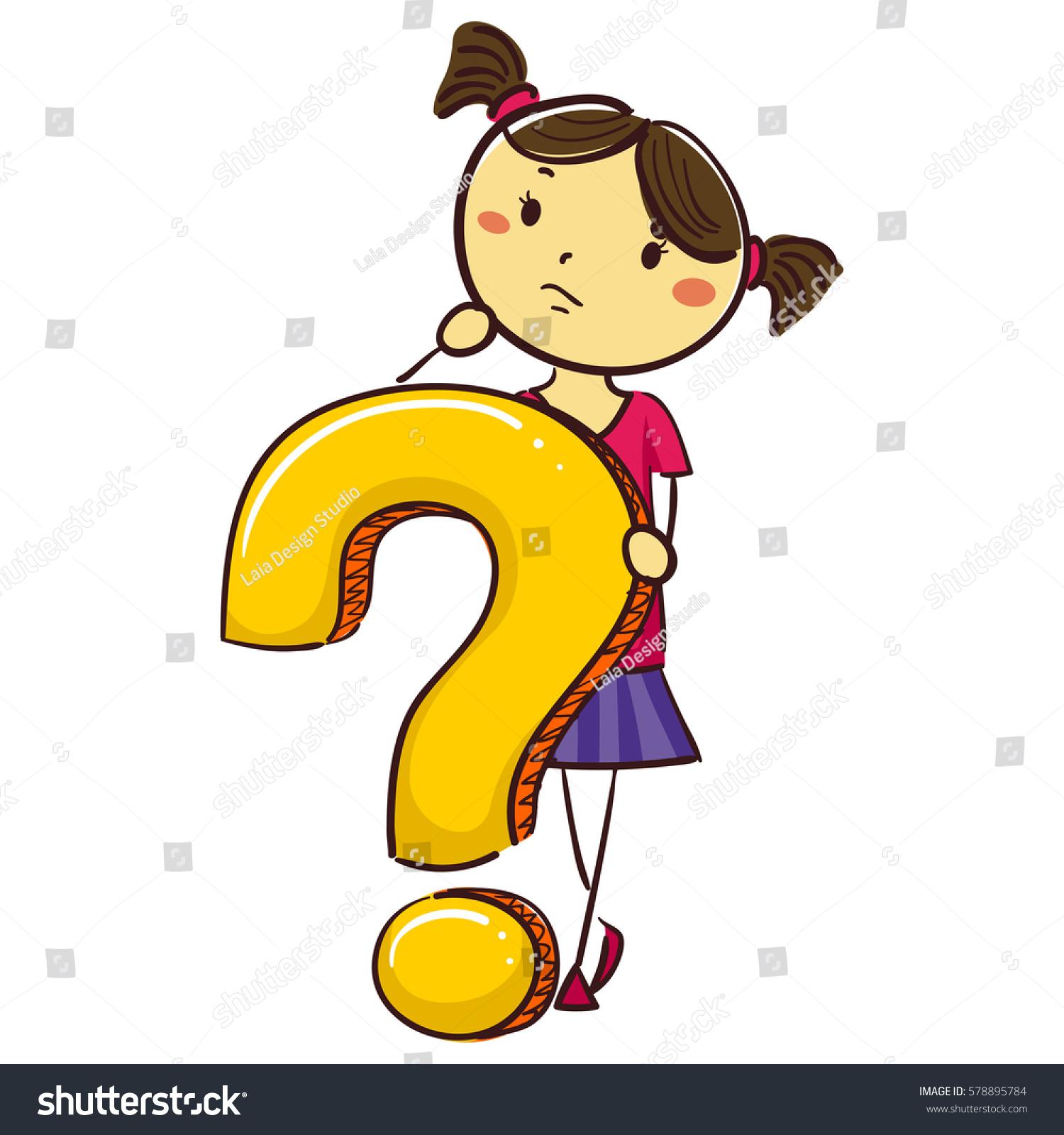 vector illustration stick kid girl question 578895784 shutterstock