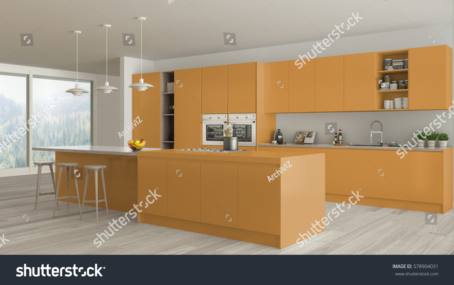 Scandinavian White Kitchen Wooden Orange Details Stock Illustration 578904031 Shutterstock