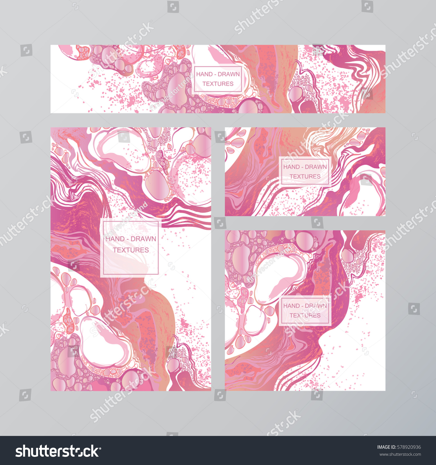 Set Pink White Business Card Template Stock Vector