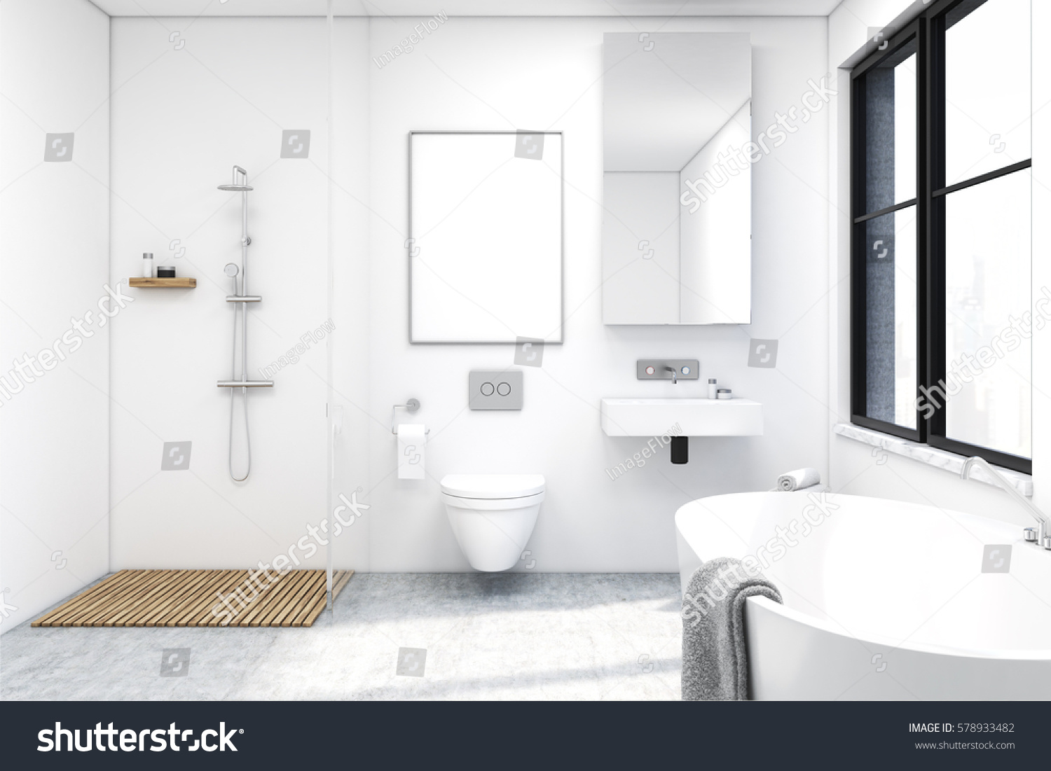 A picture of a bathroom - Front View Of A Bathroom Interior With A Shower A Toilet And A Sink