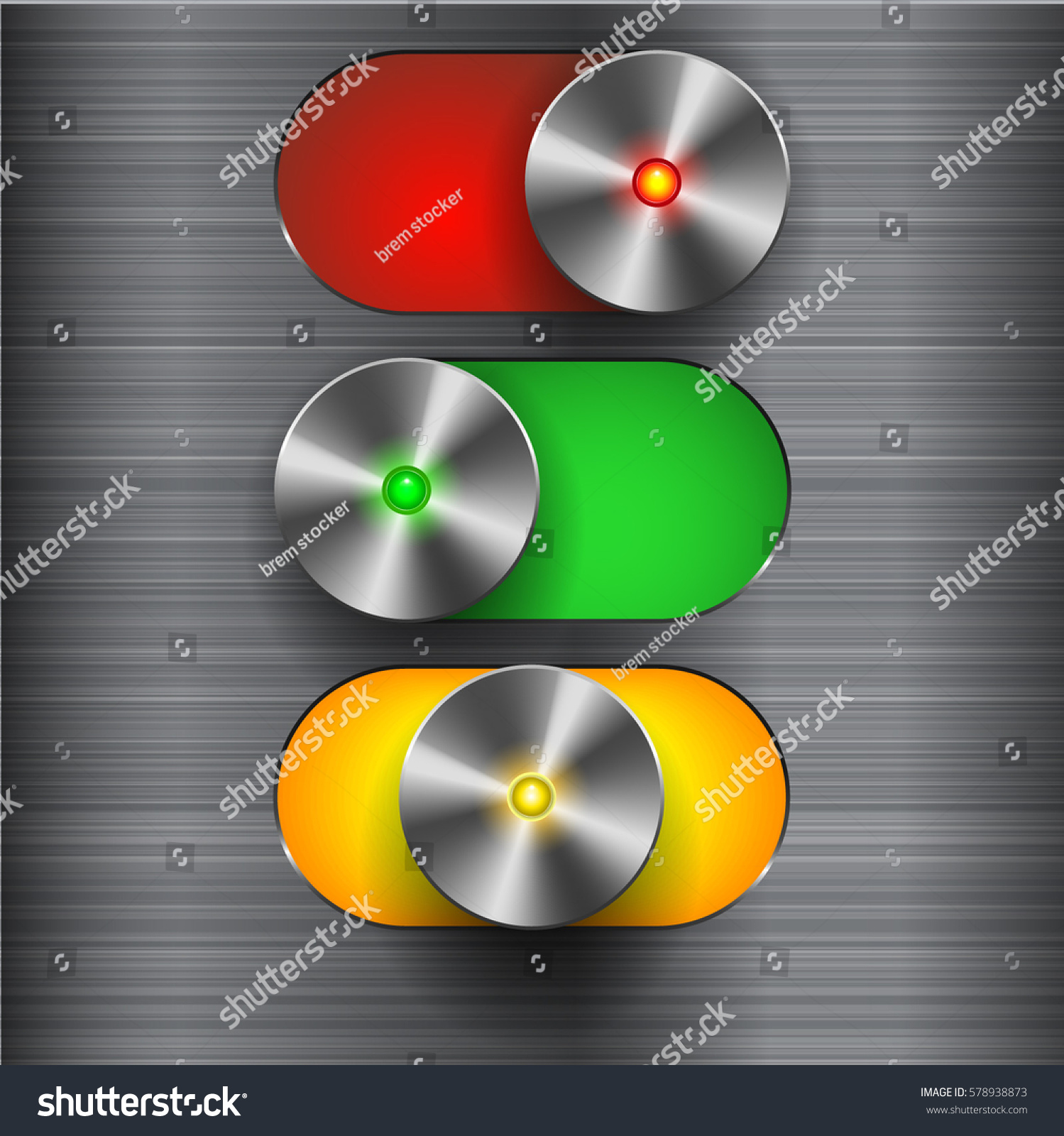 Three Position Chrome Switch Toggle Slider Stock Vector (Royalty ...