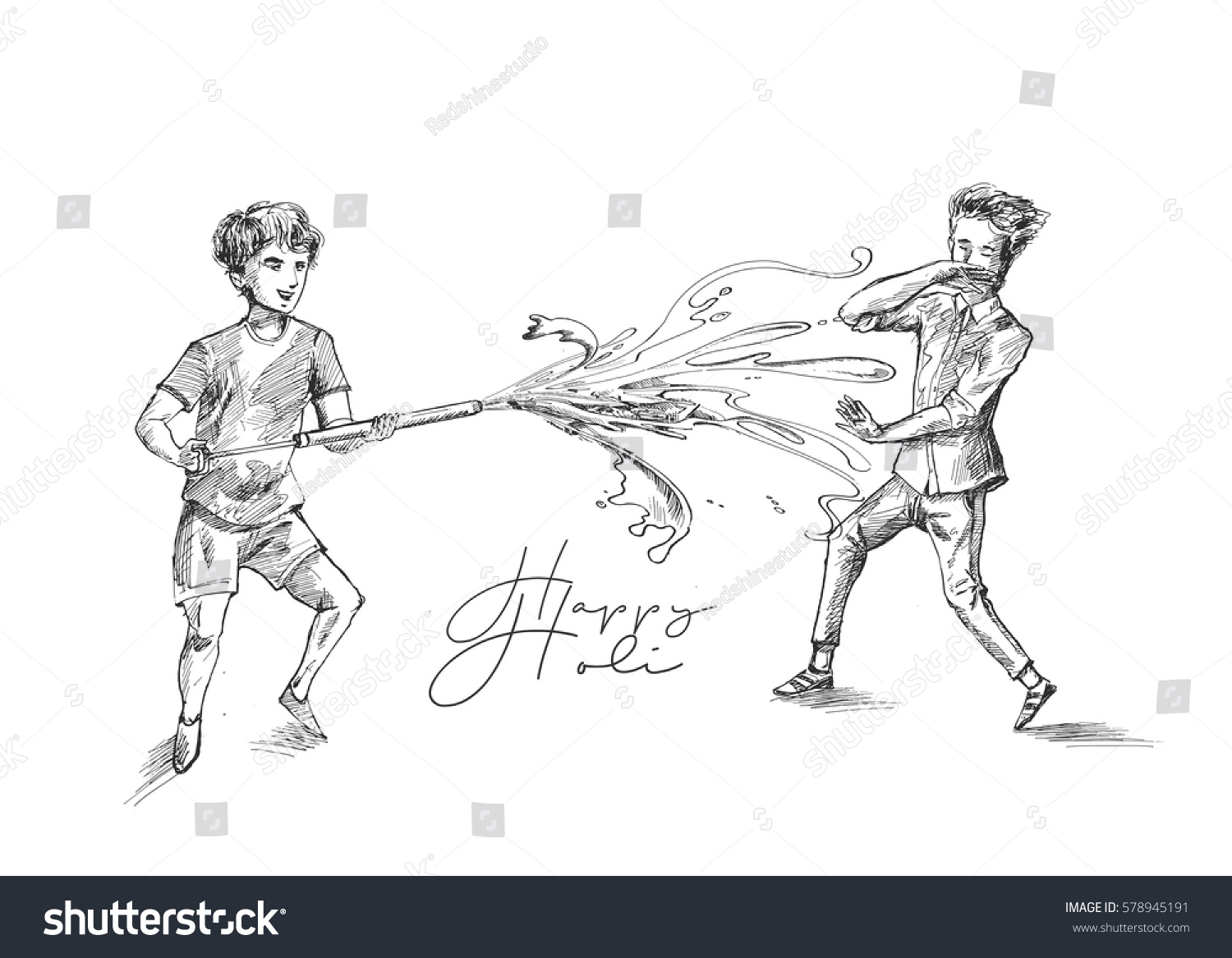 Boys playing holi hand drawn sketch stock vector royalty free