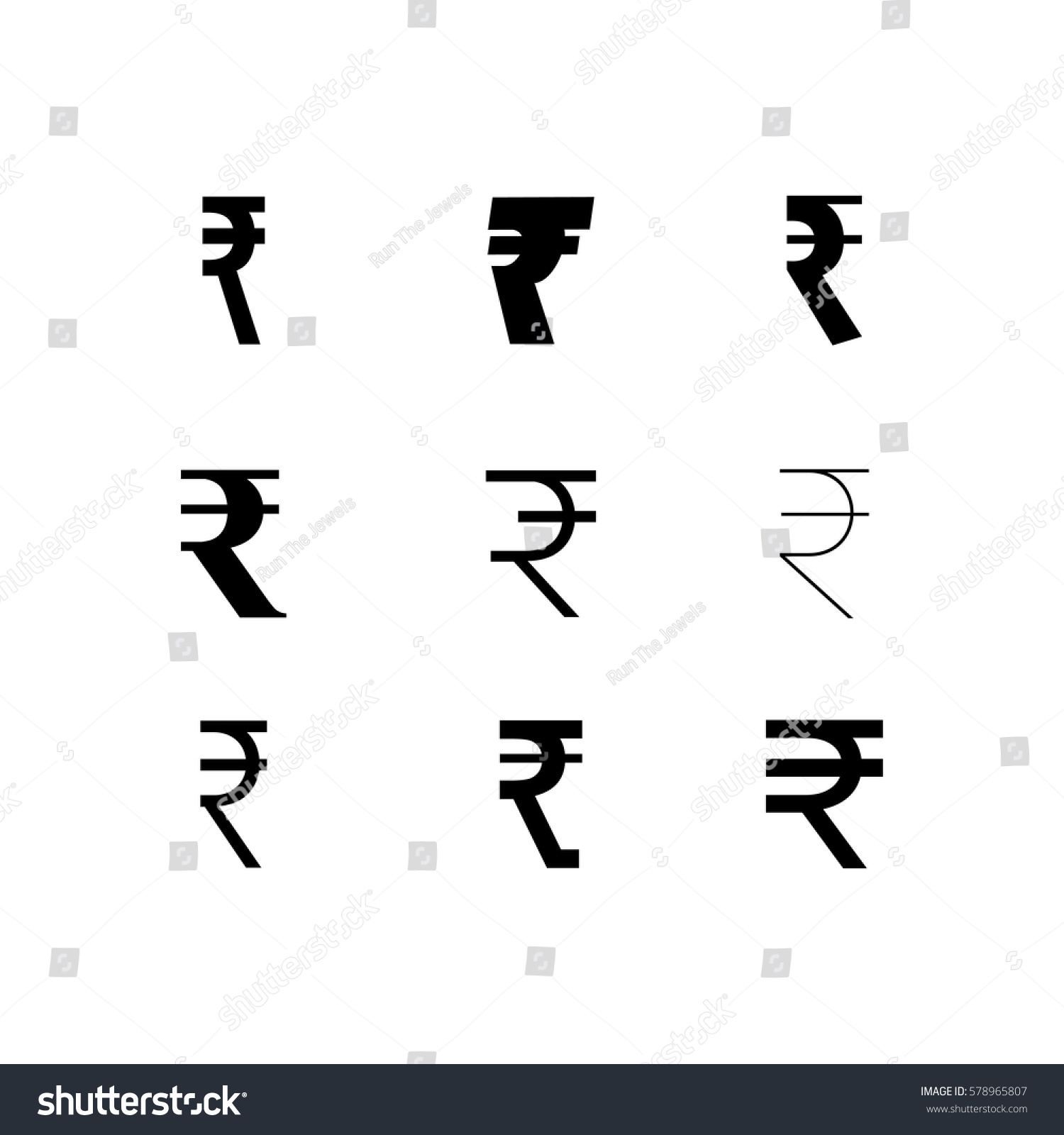 Set Rupee Symbols Different Styles Fonts Stock Vector Royalty Free