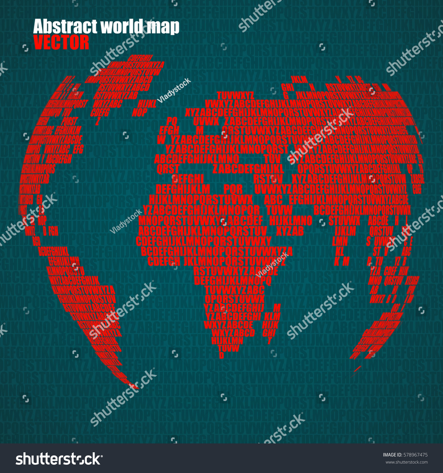 Abstract world map letters english alphabet stock vector 578967475 abstract world map with letters of english alphabet vector globe background gumiabroncs Image collections