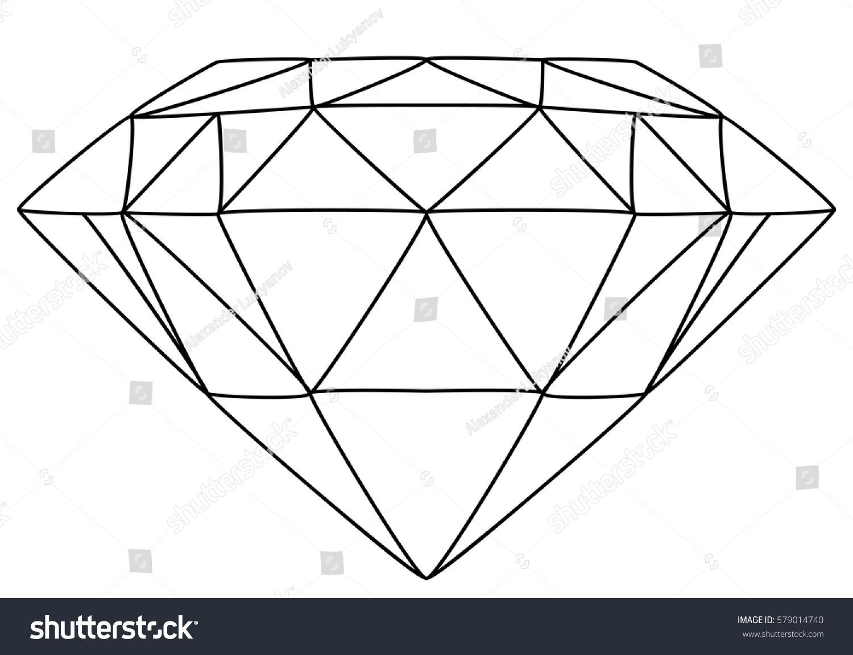Line Art Diamond : Vector illustration diamond line drawing stock