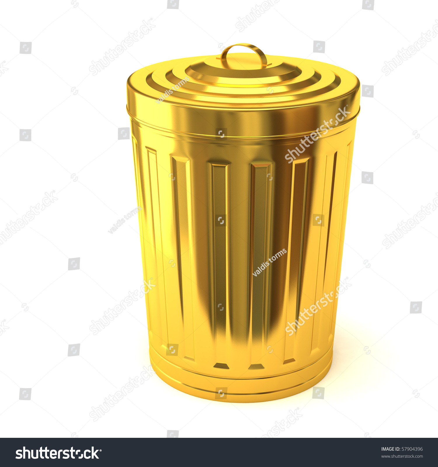 Gold Trash Can Stock Photo 579...