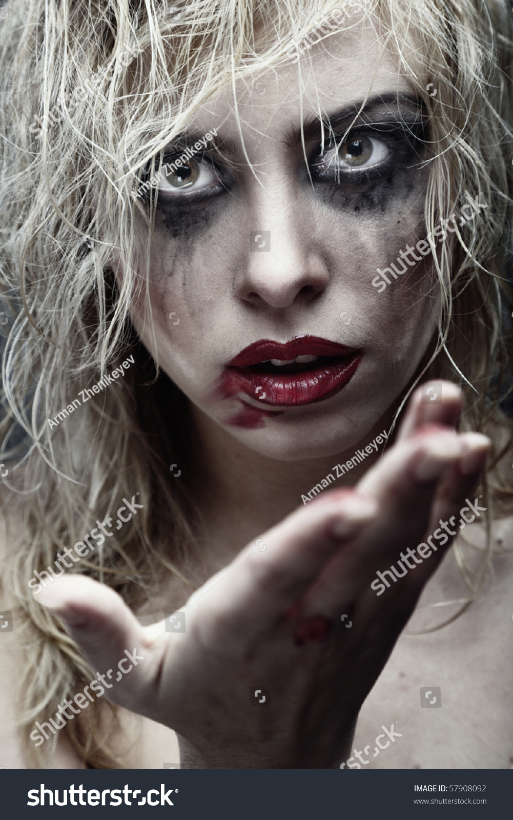 Dirty Makeup Brushes: Voodoo Female Witch Dirty Makeup Blood Stock Photo