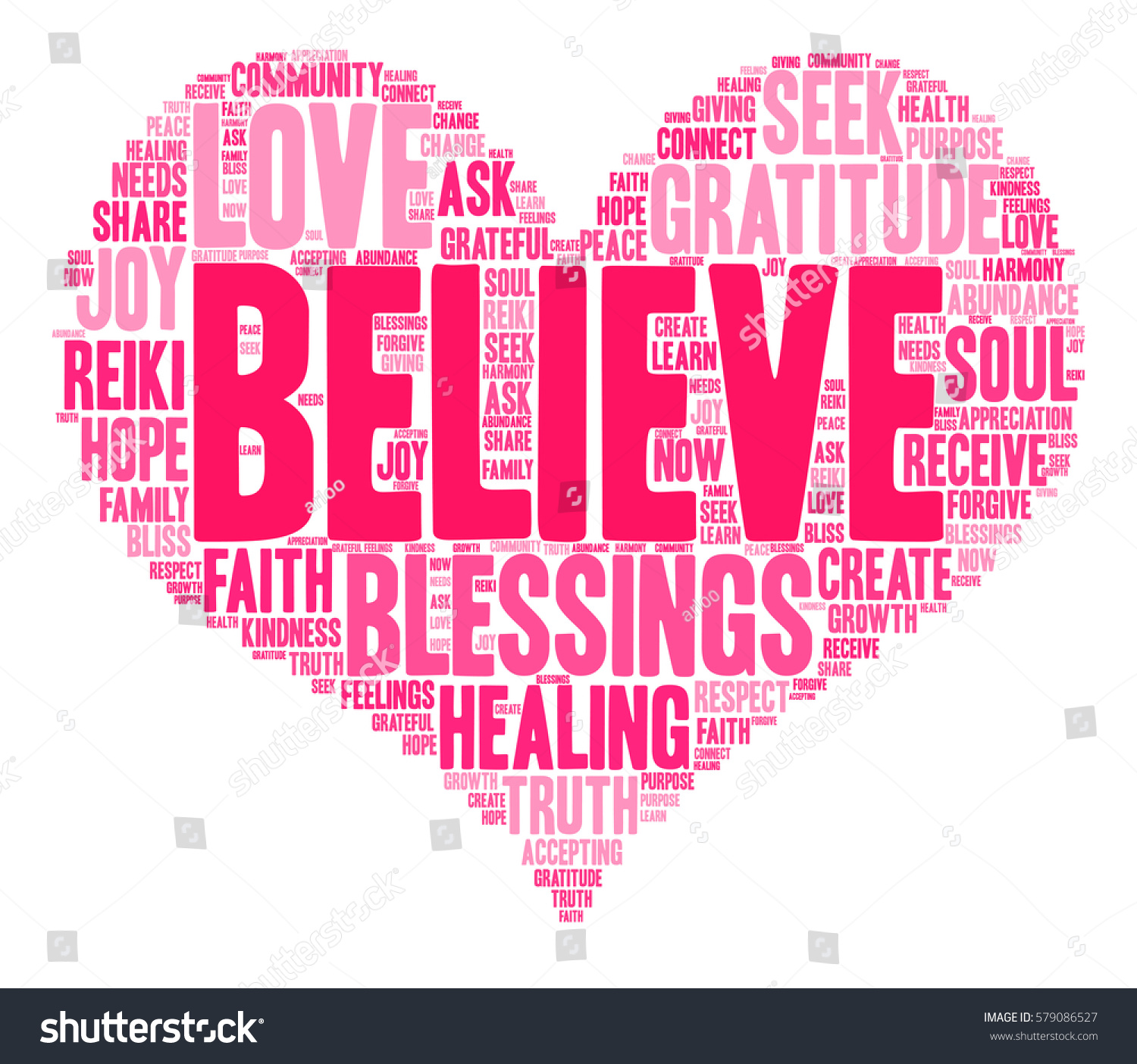 Believe Word Cloud On A White Background