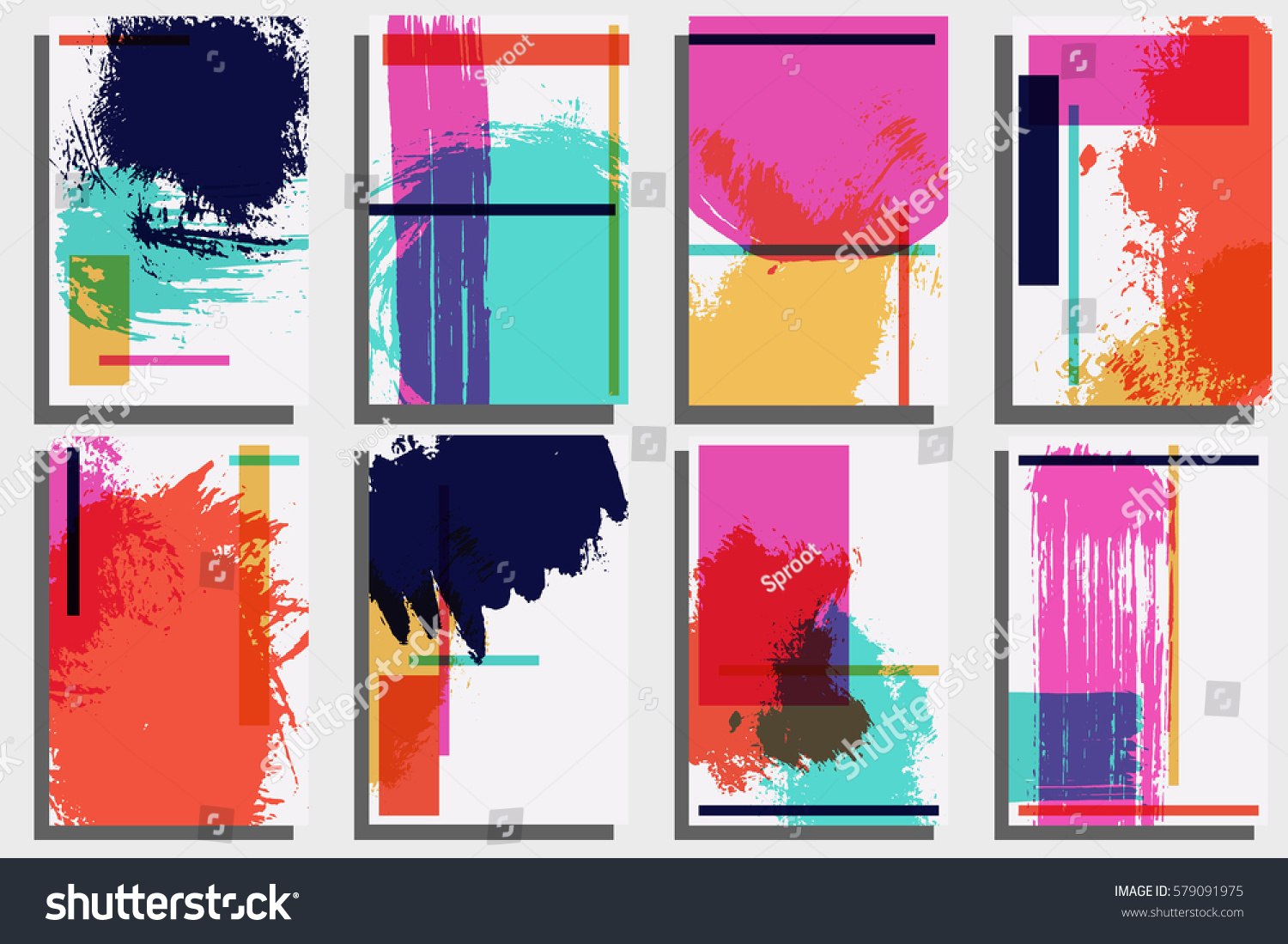 Cards Template Hand Painted Textures Ink Stock Vector 579091975 ...