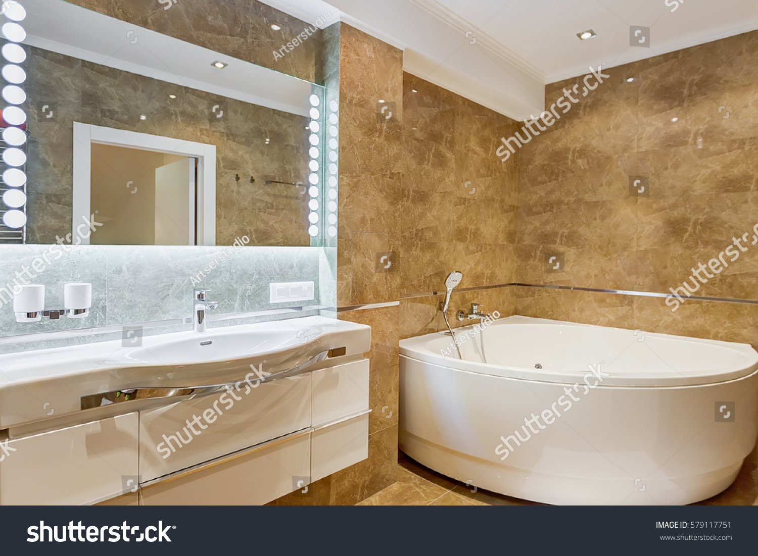 Interior Stylish Bathroom Brown White Colors Stock Photo (Edit Now ...