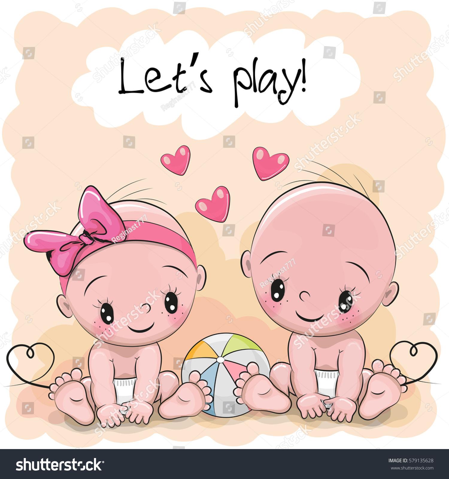 two cute cartoon babies boy girl stock vector 579135628 Baby Girl Clip Art Banners Baby Girl Shower Clip Art