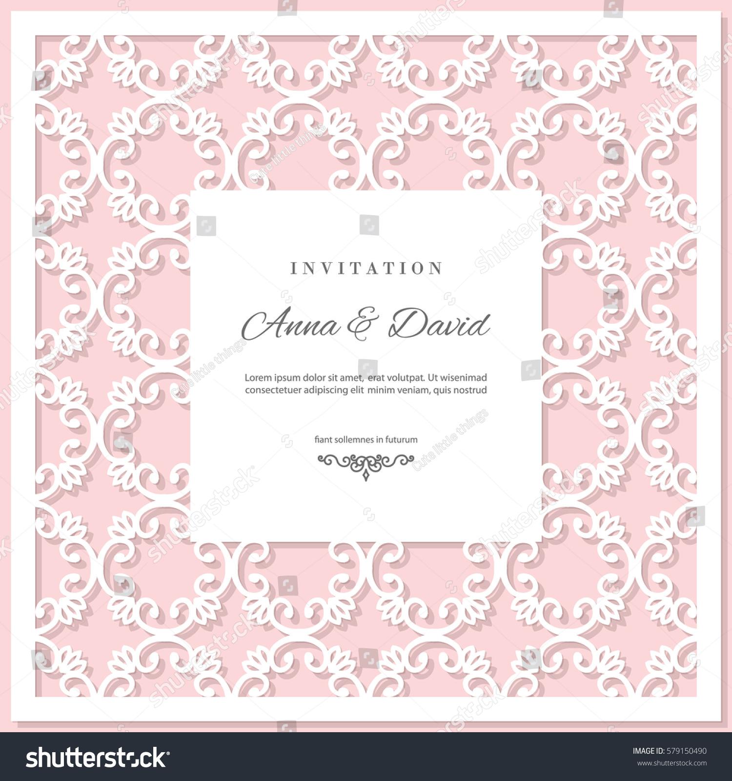 Wedding Invitation Card Template Laser Cutting Stock Vector ...