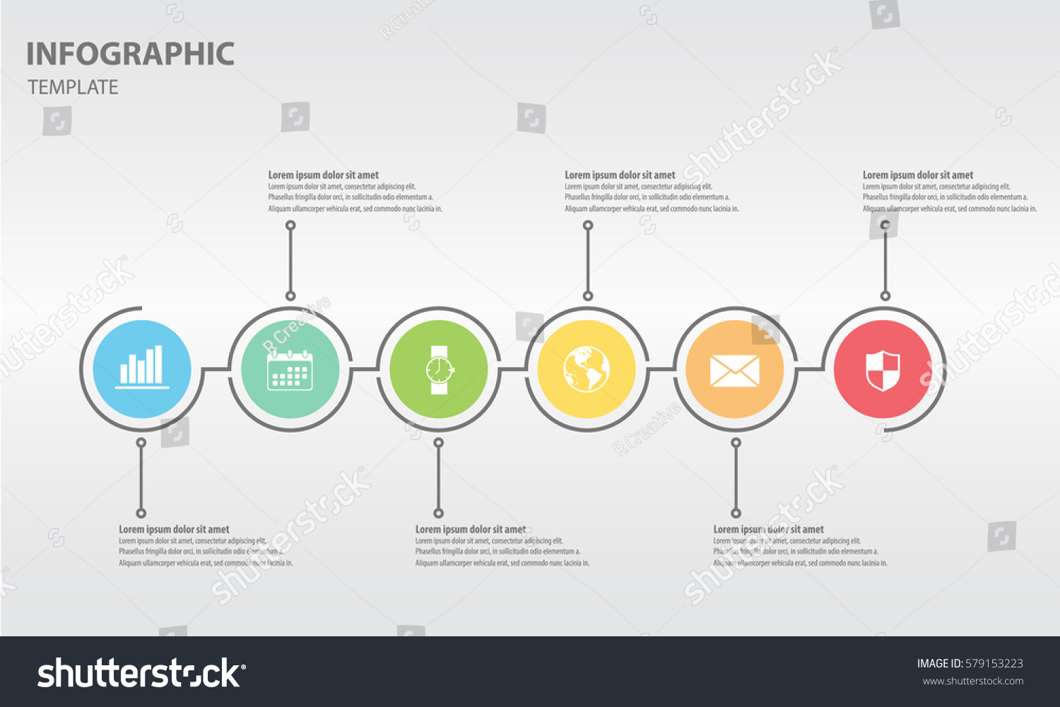 timeline infographic design template circle 6 のベクター画像素材
