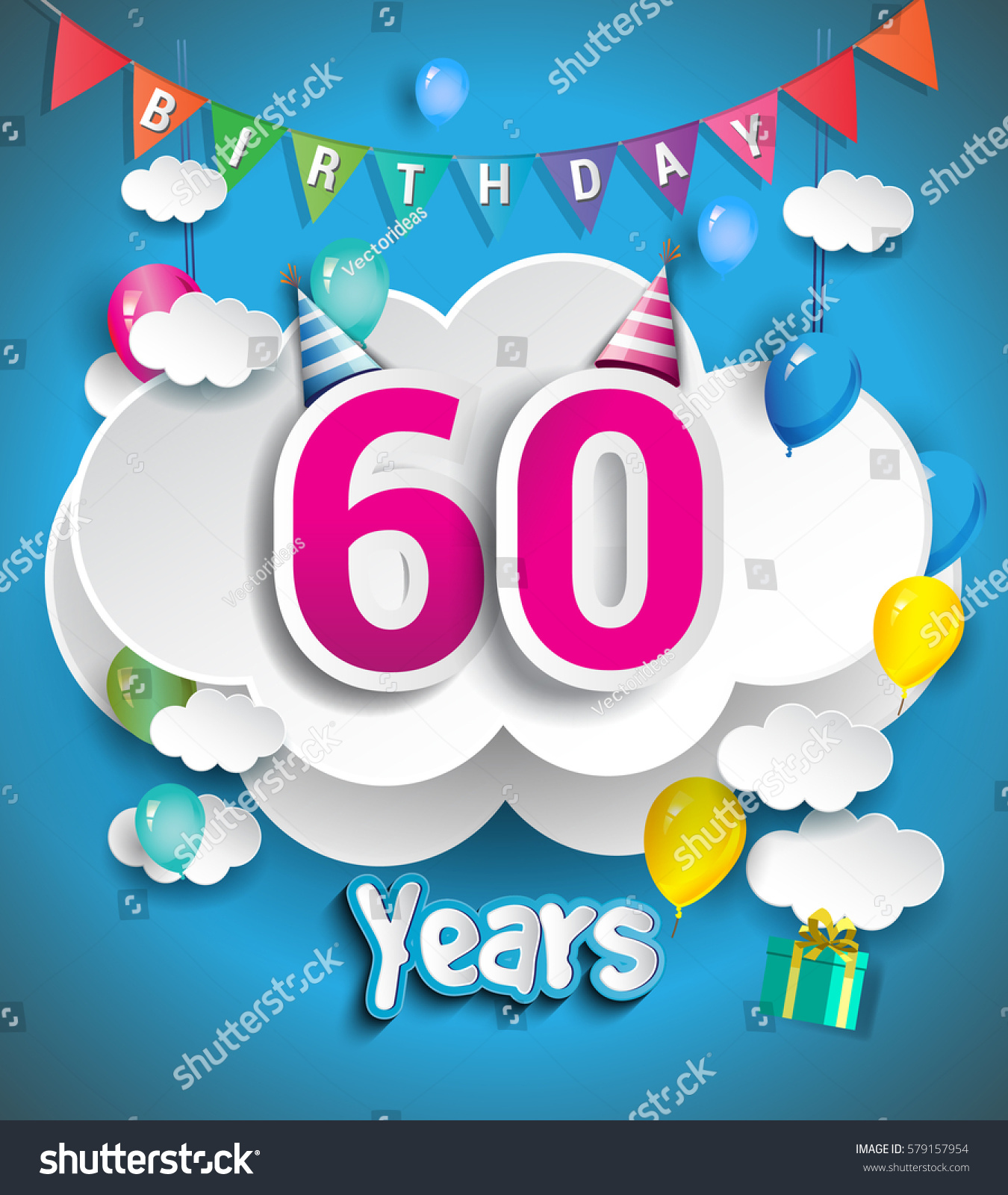 60th anniversary celebration design with clouds and balloons confetti vector template elements for