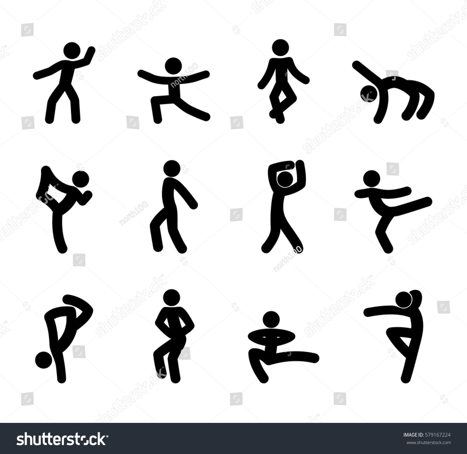 Set Stick Figures Dance Moves Isolated Stock Vector Royalty Free 579167224