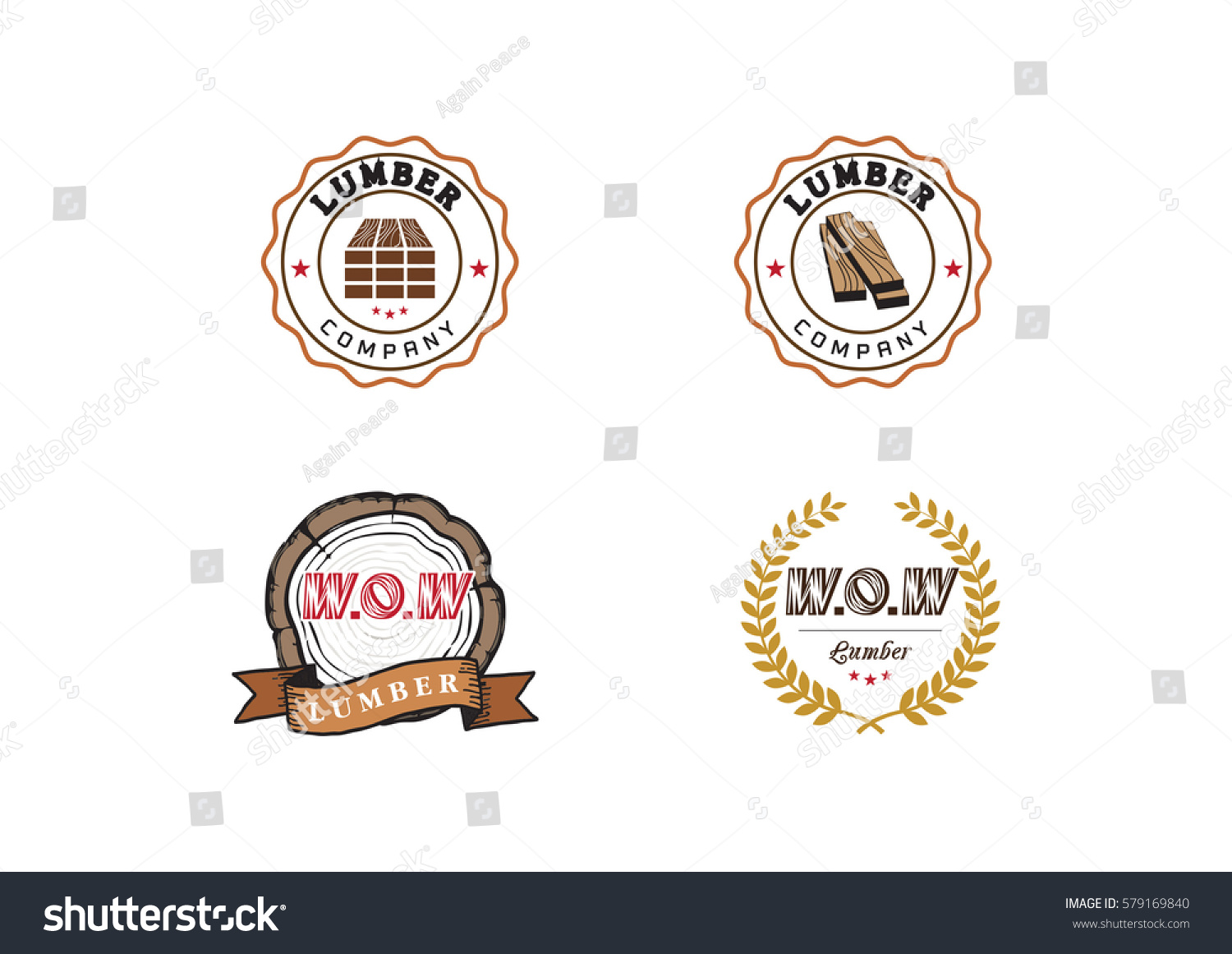 Set Vintage Carpentry Logotypes Made Vector Stock Vector Royalty