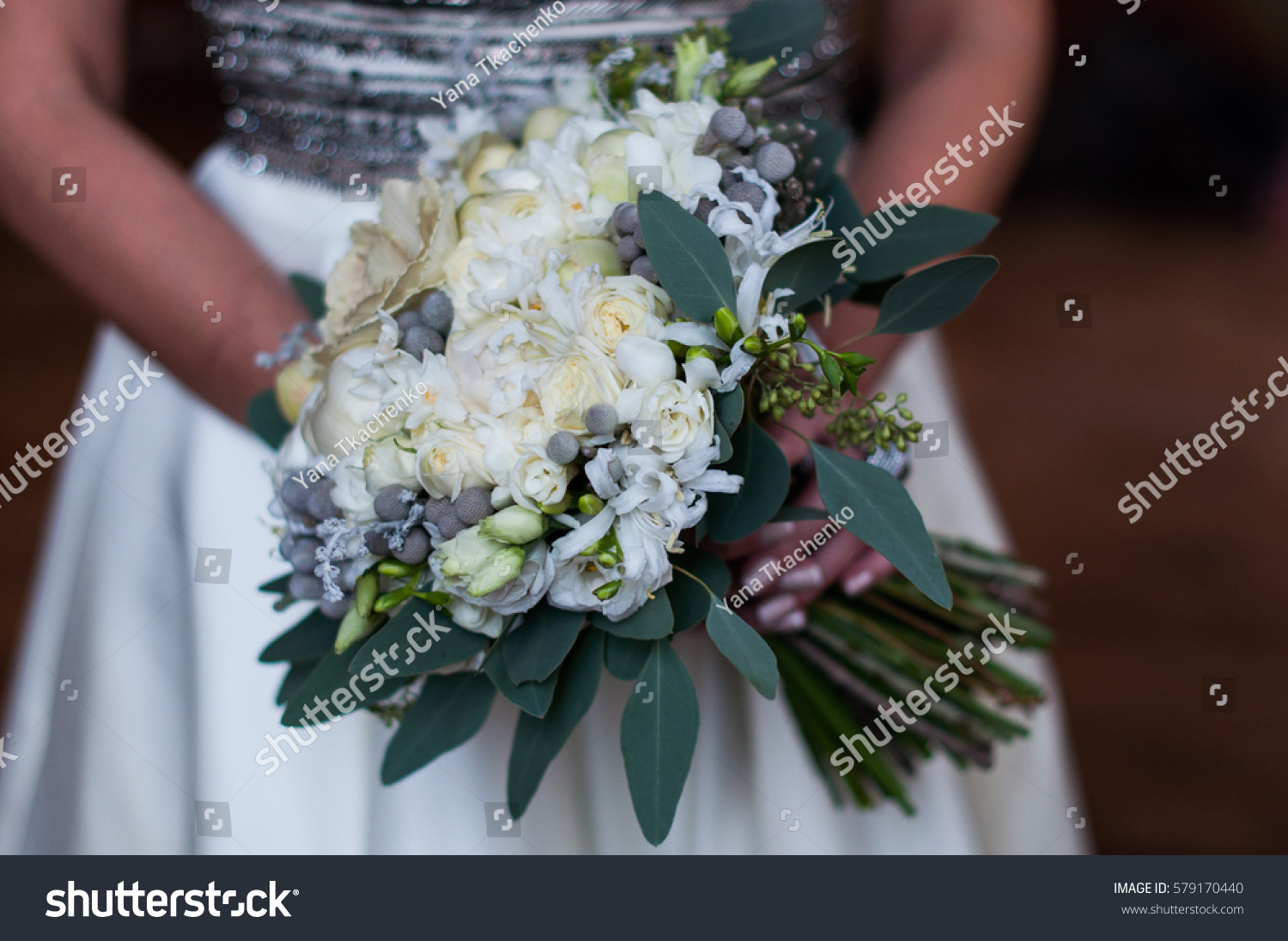 Wedding Bouquet With White Flowers Grey Berries And Greenery Ez
