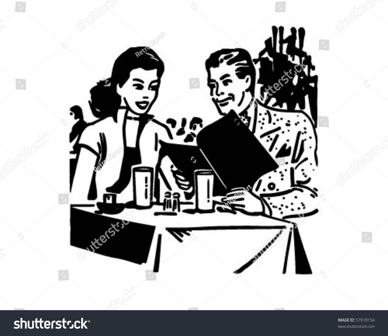 Happy Diners Retro Clip Art Stock Vector 57918154 - Shutterstock