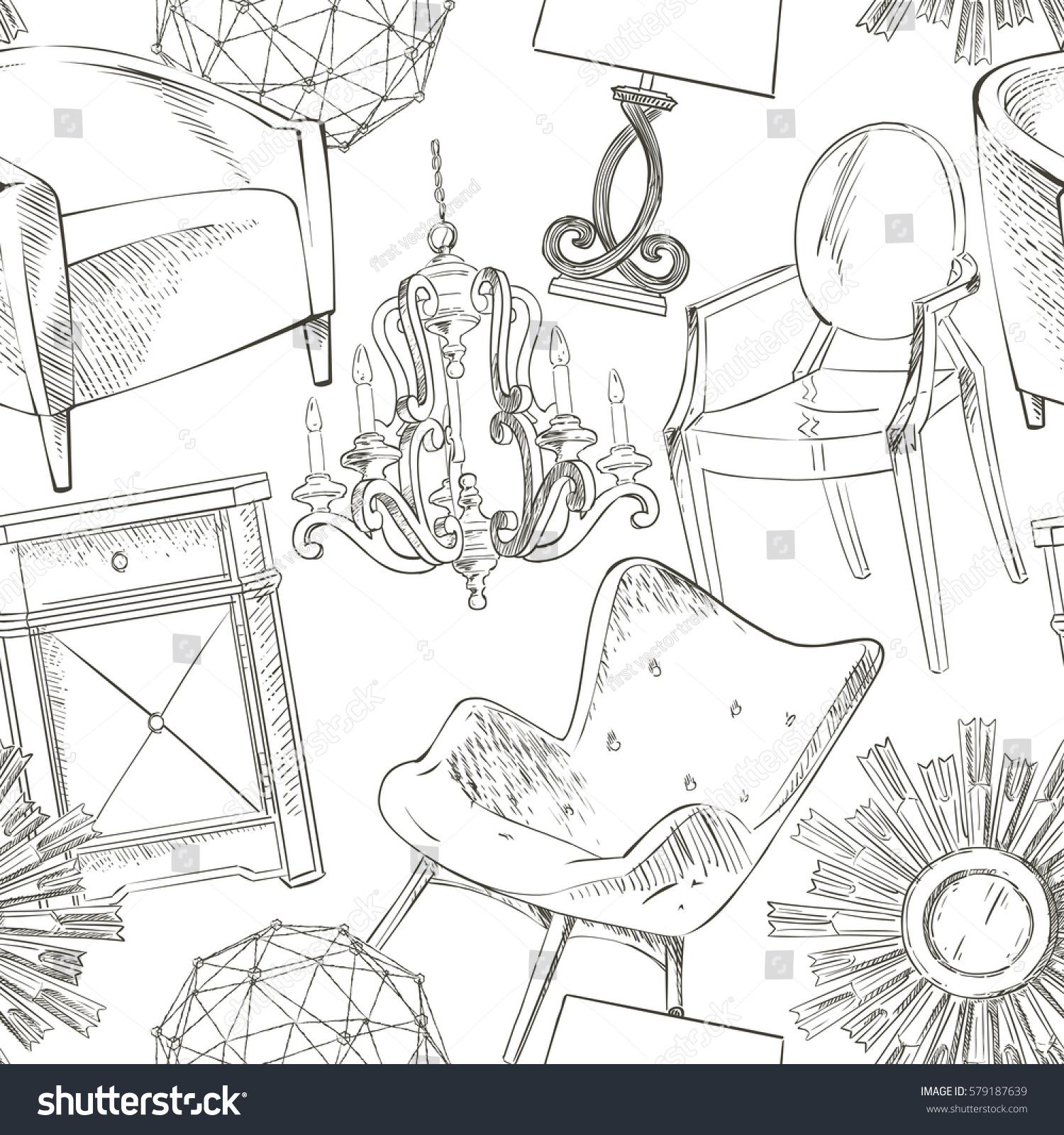 Set Hand Drawn Furniture Interior Detail Stock Vector 579187639 ...
