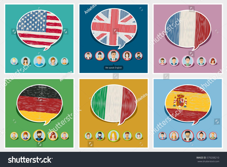 English In Italian: Concept Travel Studying Languages English German Stock