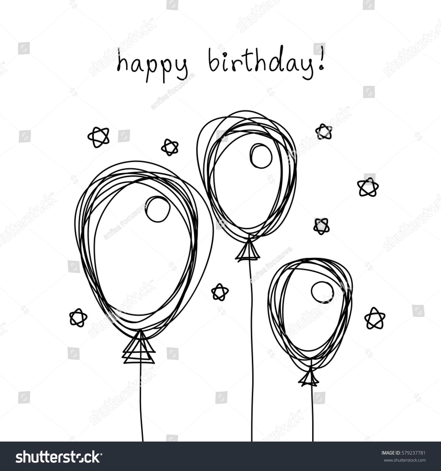 vector birthday card doodle balloon black stock vector 579237781