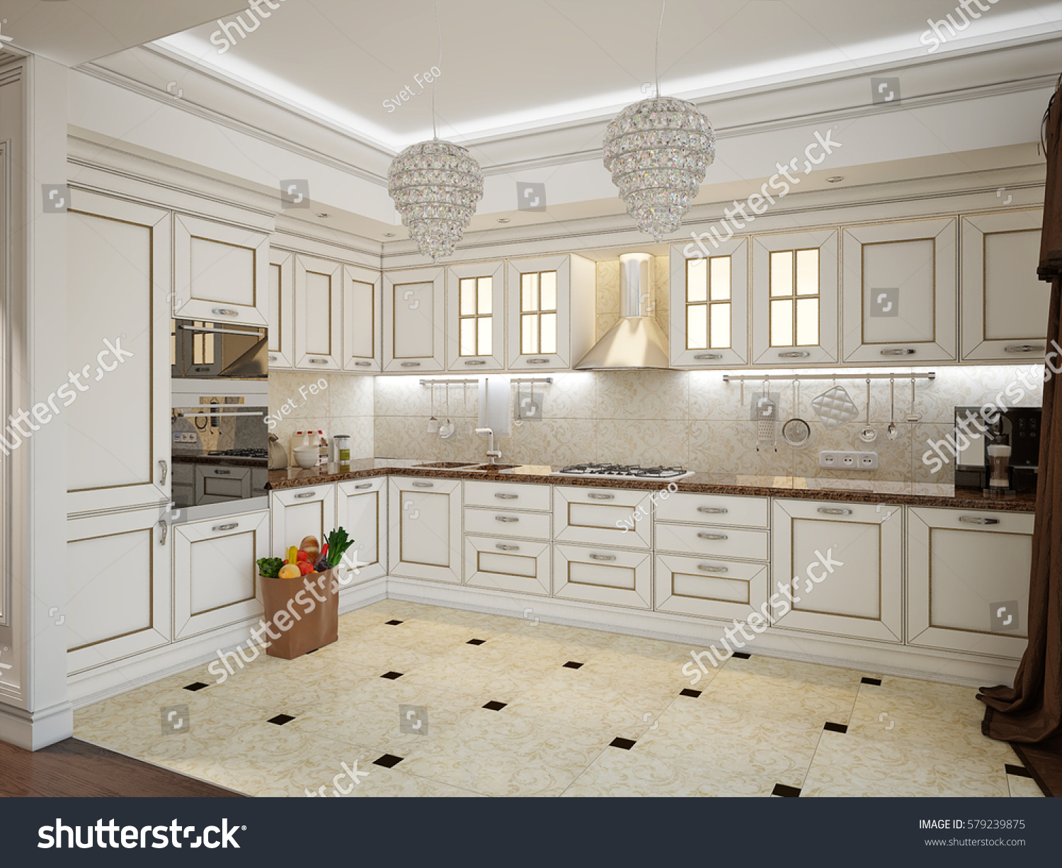 Luxury classic interior of dining room kitchen and living room with classic white furniture crystal chandeliers fireplace and white kitchen