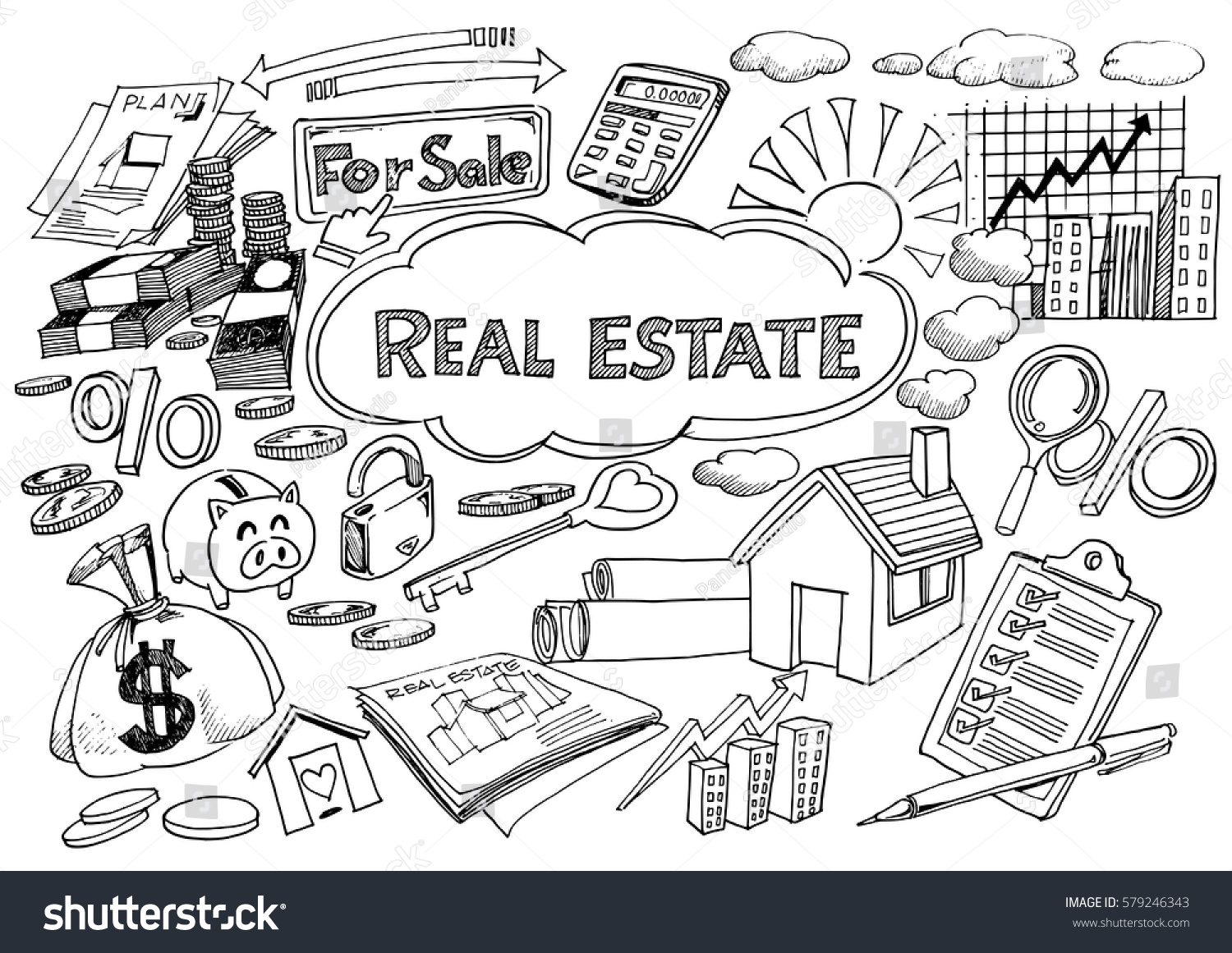 Coloring book real estate - Real Estate Business Industry And Investment Chalk Handwriting Doodle Sign And Symbol Freehand Doodle Icons