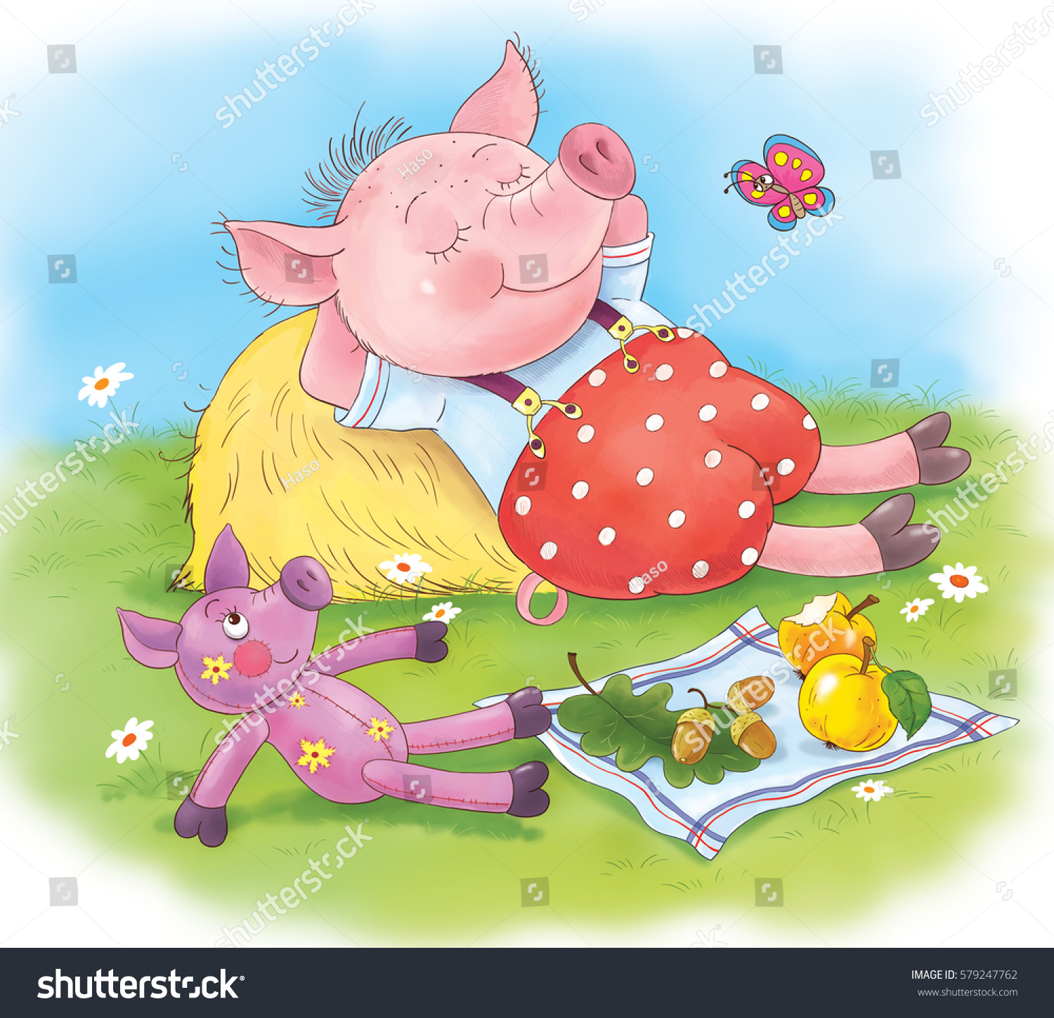 three little pigs fairy tale cute stock illustration 579247762
