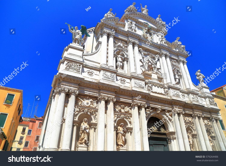 Baroque facade church saint moise venice stock photo for Baroque italien