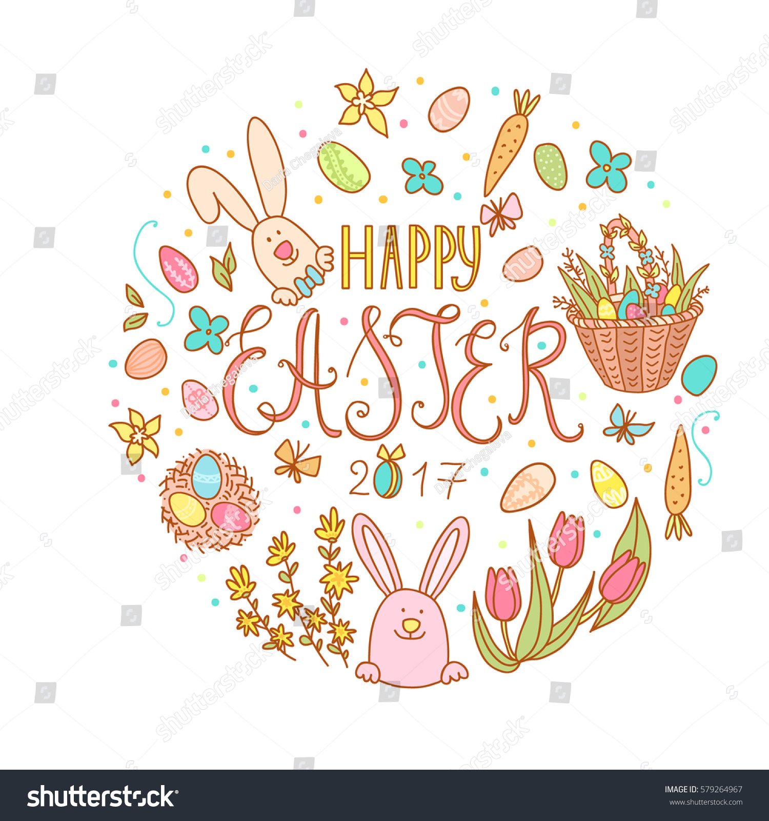 Hand Drawn Happy Easter Poster Typography Stock Vector Royalty Free