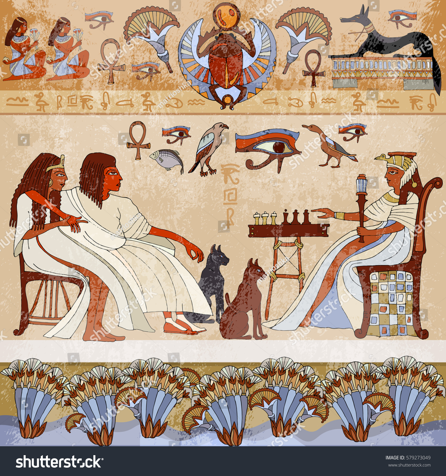 Murals ancient egyptscene egyptian gods pharaohs stock for Mural vector
