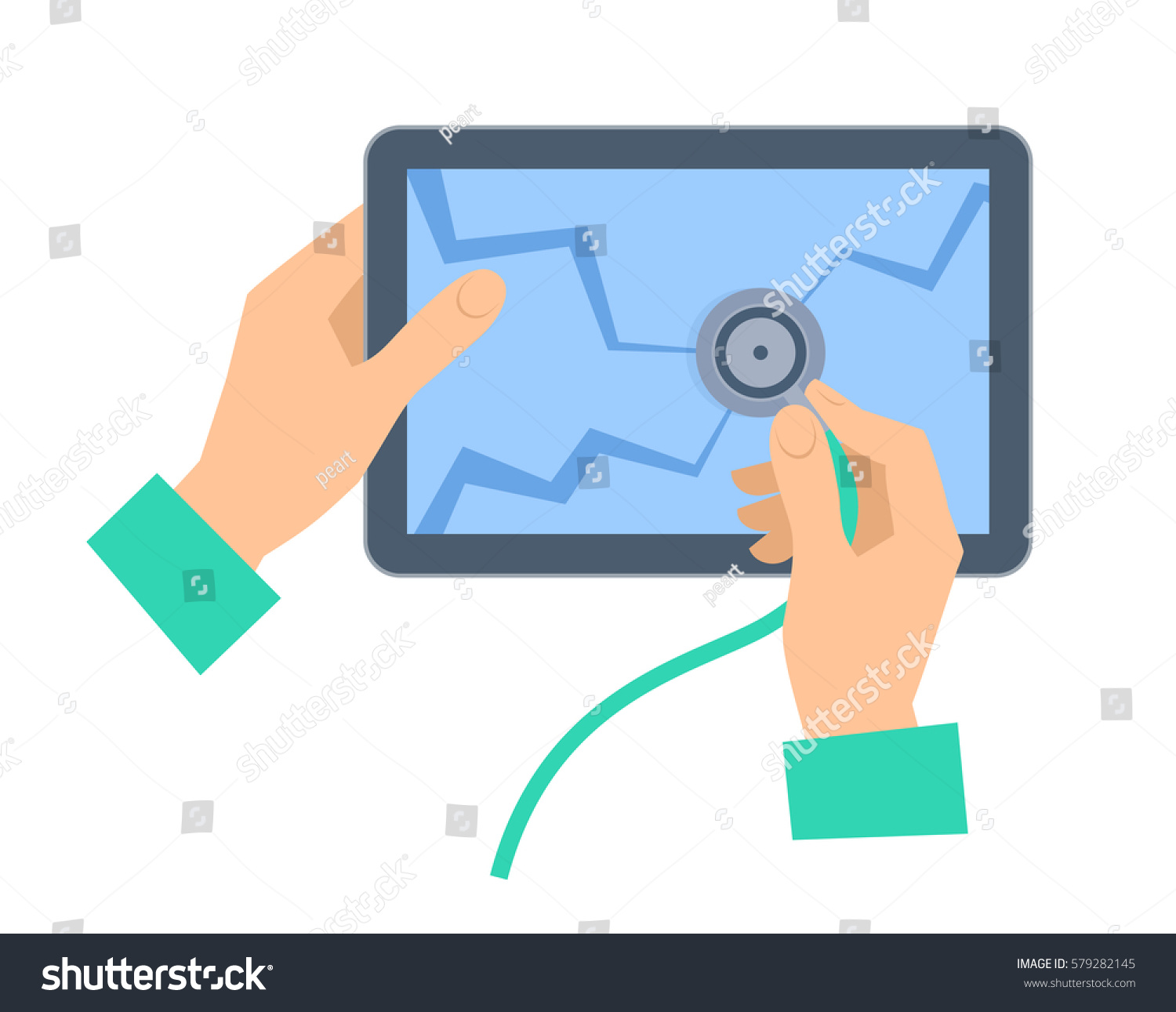 hand stethoscope examing broken tablet pc stock vector (royalty freethe hand with stethoscope examing broken tablet pc recovery, repair flat concept illustration