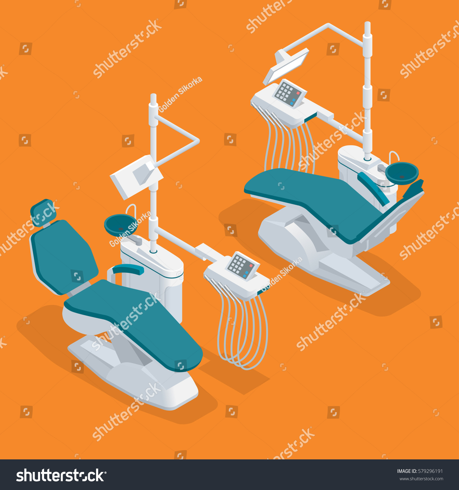 Isometric Modern Dentist Chair Isolated Equipment Stock Vector
