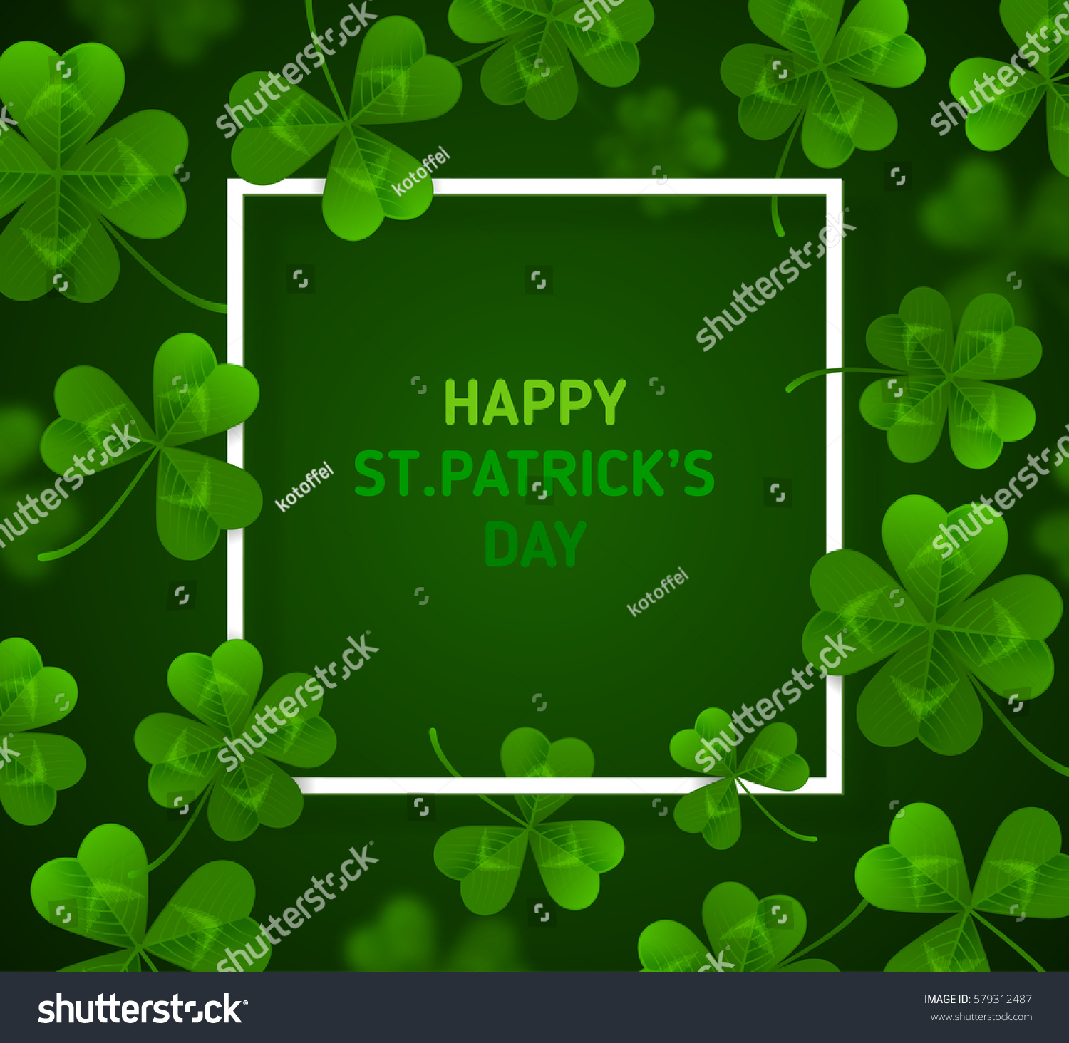 saint patricks day banner green four stock vector 579312487