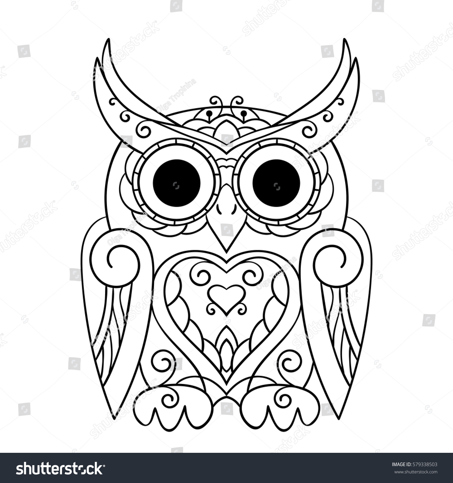 Zen coloring books for children - Vector Hand Drawn Owl For Adult And Children Coloring Book Black And White Zentangle Art