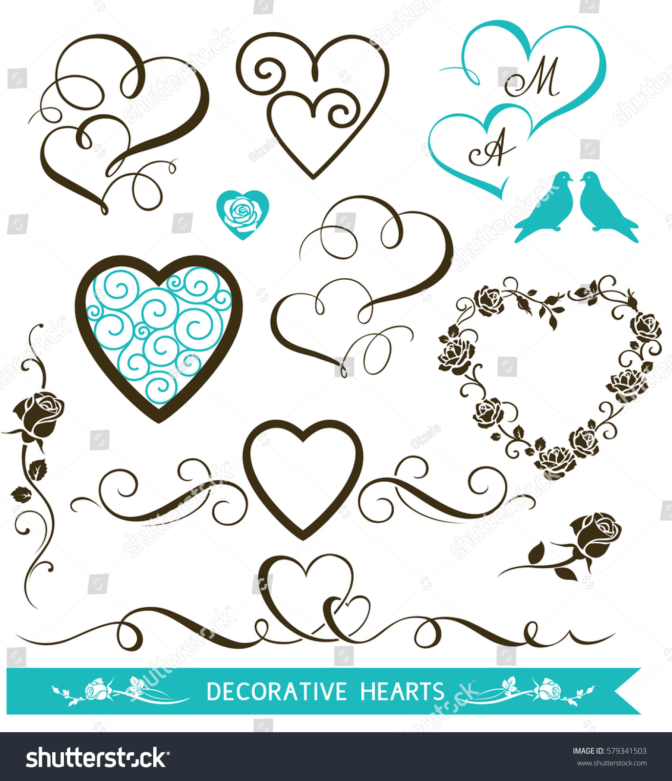 Set Decorative Calligraphic Hearts Wedding Invitation Stock Vector ...