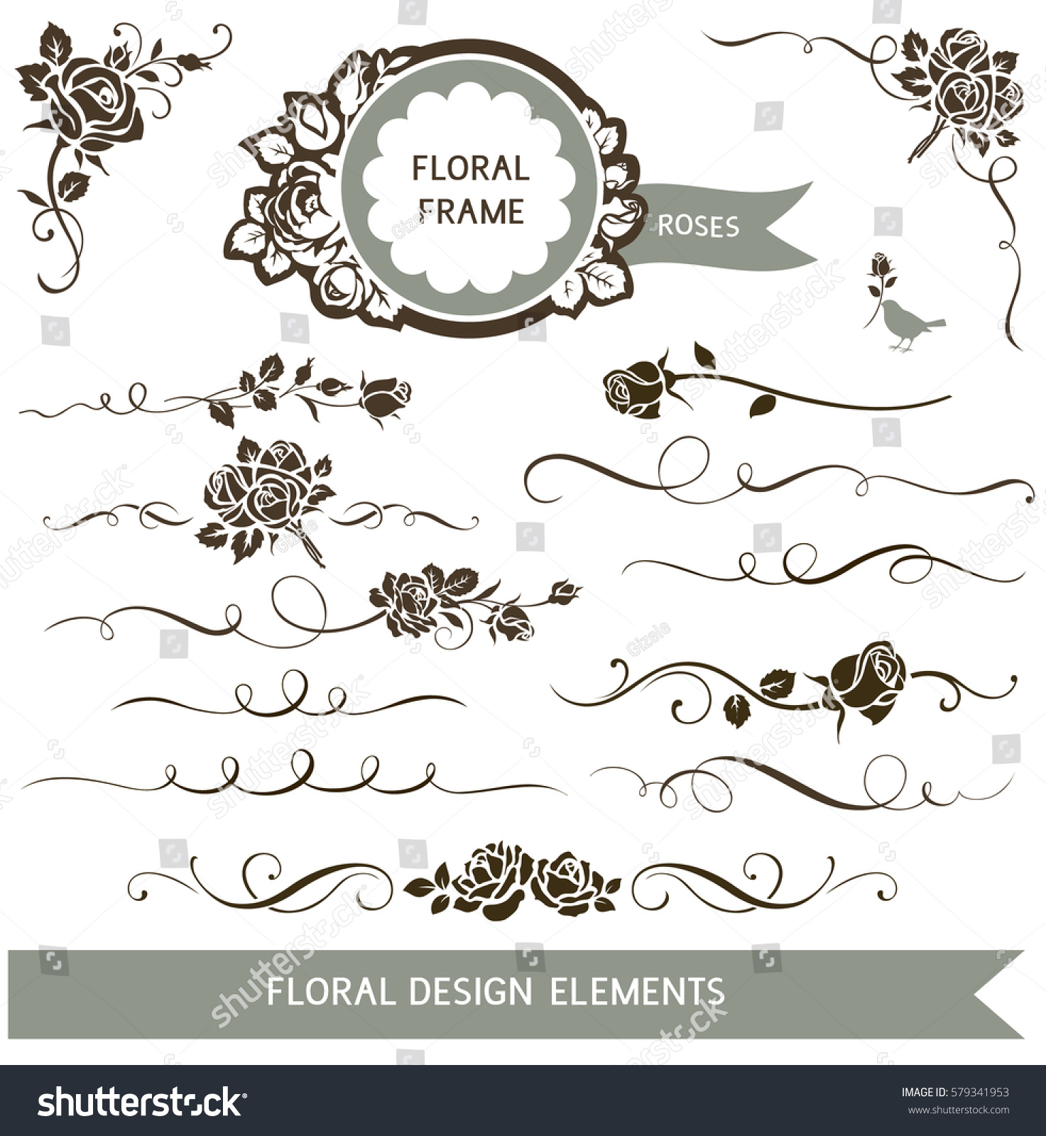 Set Of Black Flower Design Elements Stock Vector: Set Floral Calligraphic Design Elements Decorative Stock