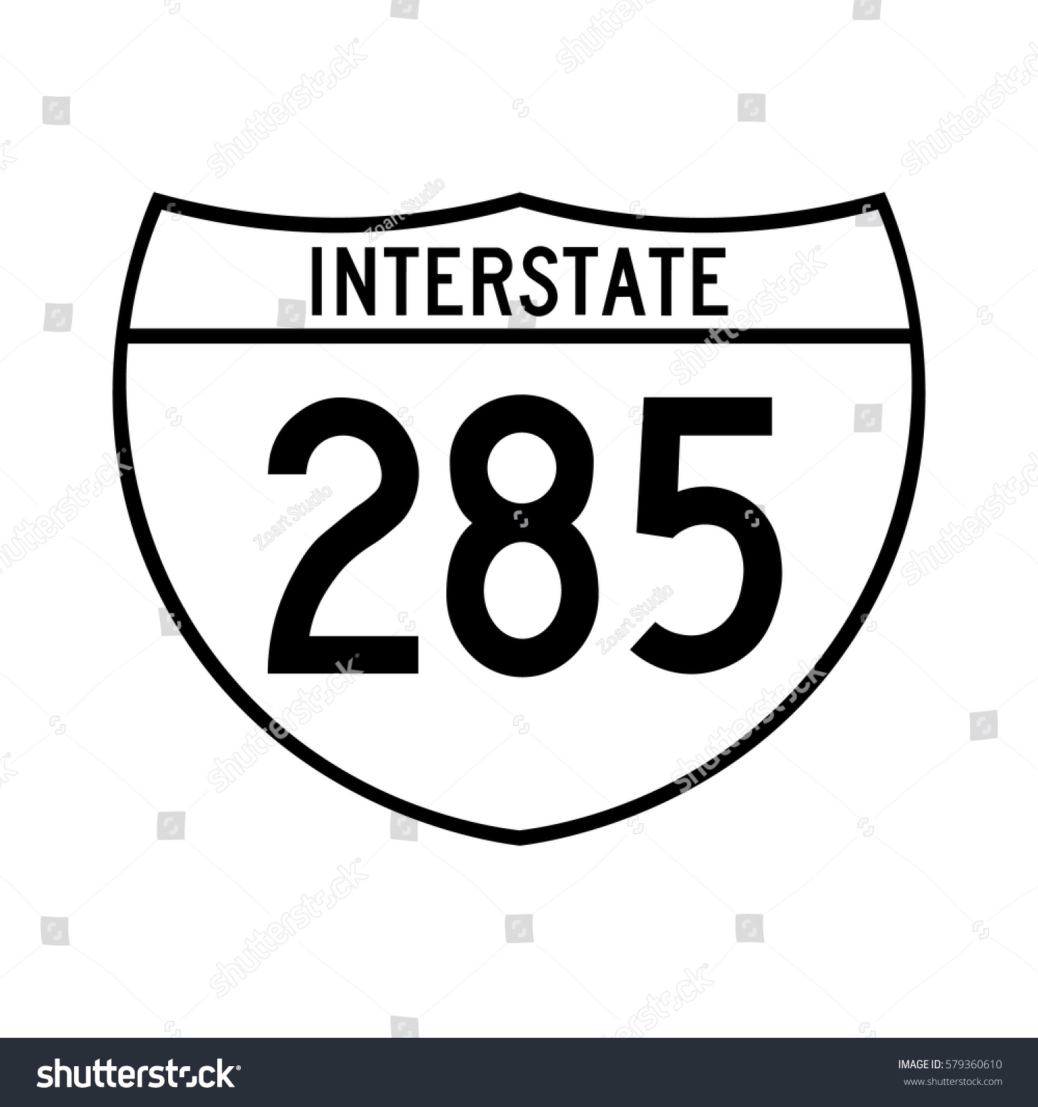 Interstate Highway 285 Road Sign White Stock Vector (Royalty