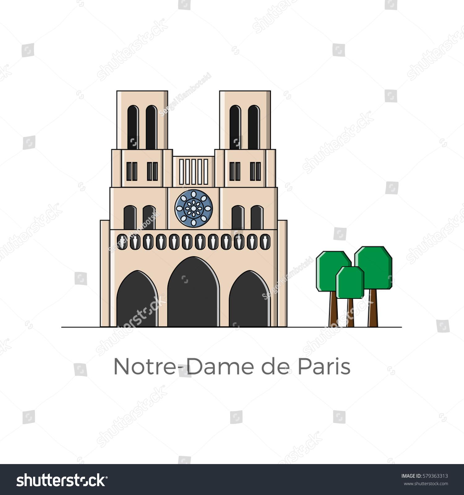 Notredame De Paris Vector Illustration Flat Stock Vector 579363313 ...