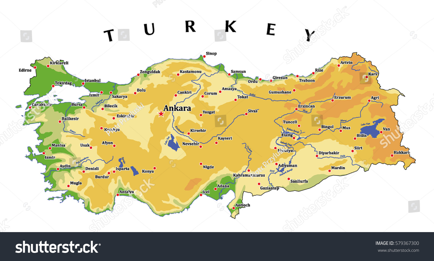 Turkey Physical Vector Map Isolated On Stock Vector HD Royalty Free