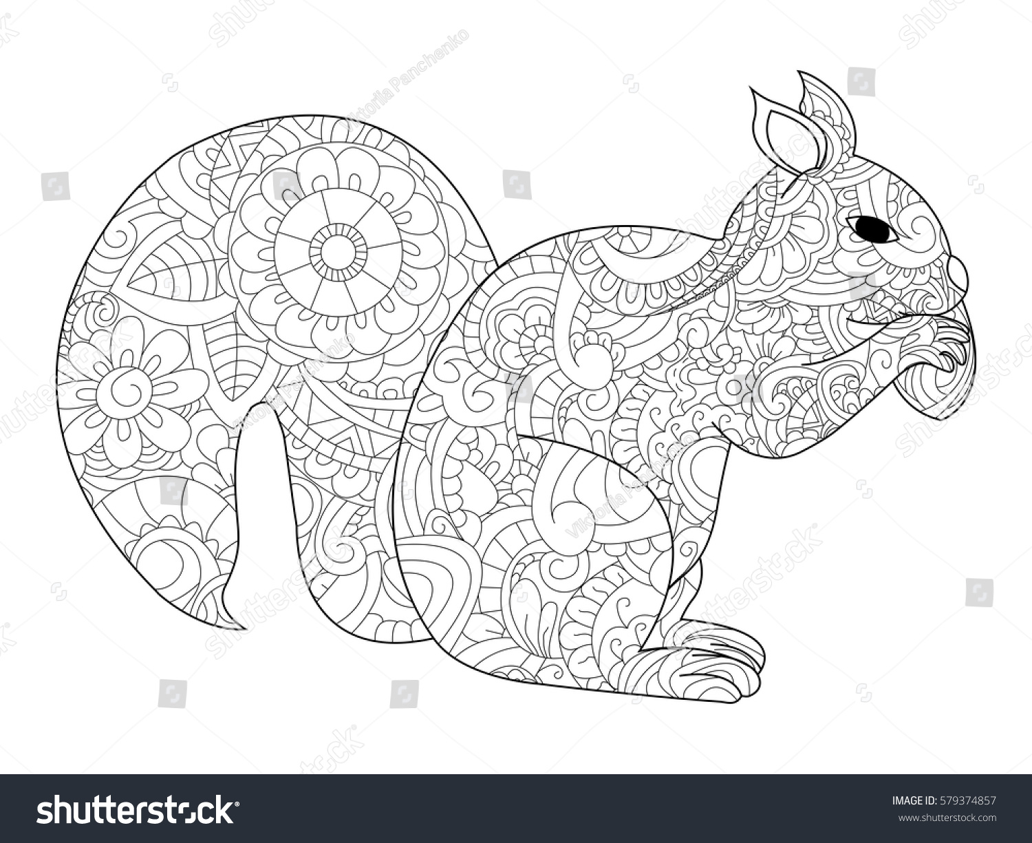 Vector Illustration Of The Squirrel With Nut In Zentangle And Ethcnic Style Tattoo Coloring