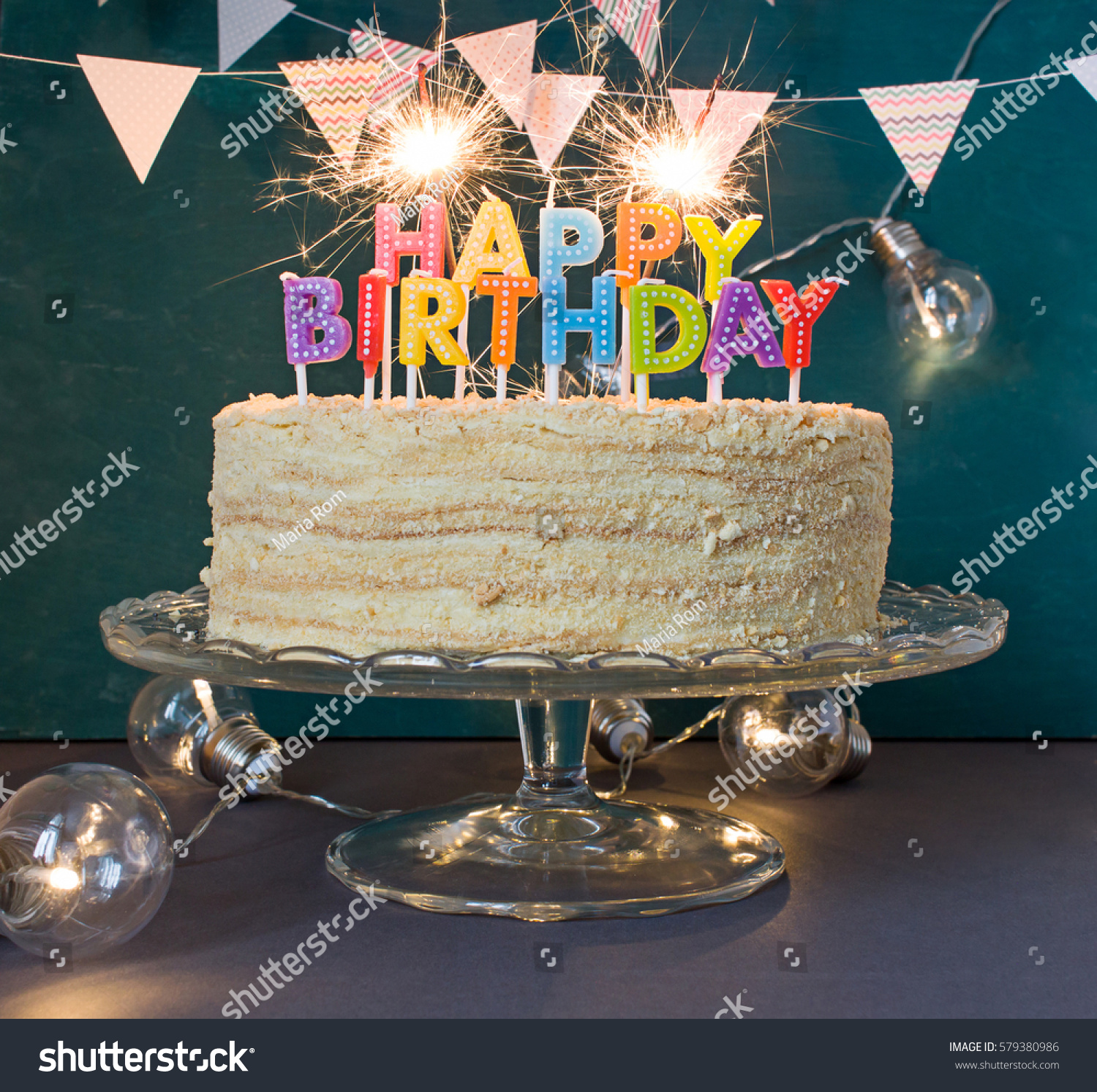 Happy Birthday Cake Sparklers Greeting Card Stock Photo Edit Now