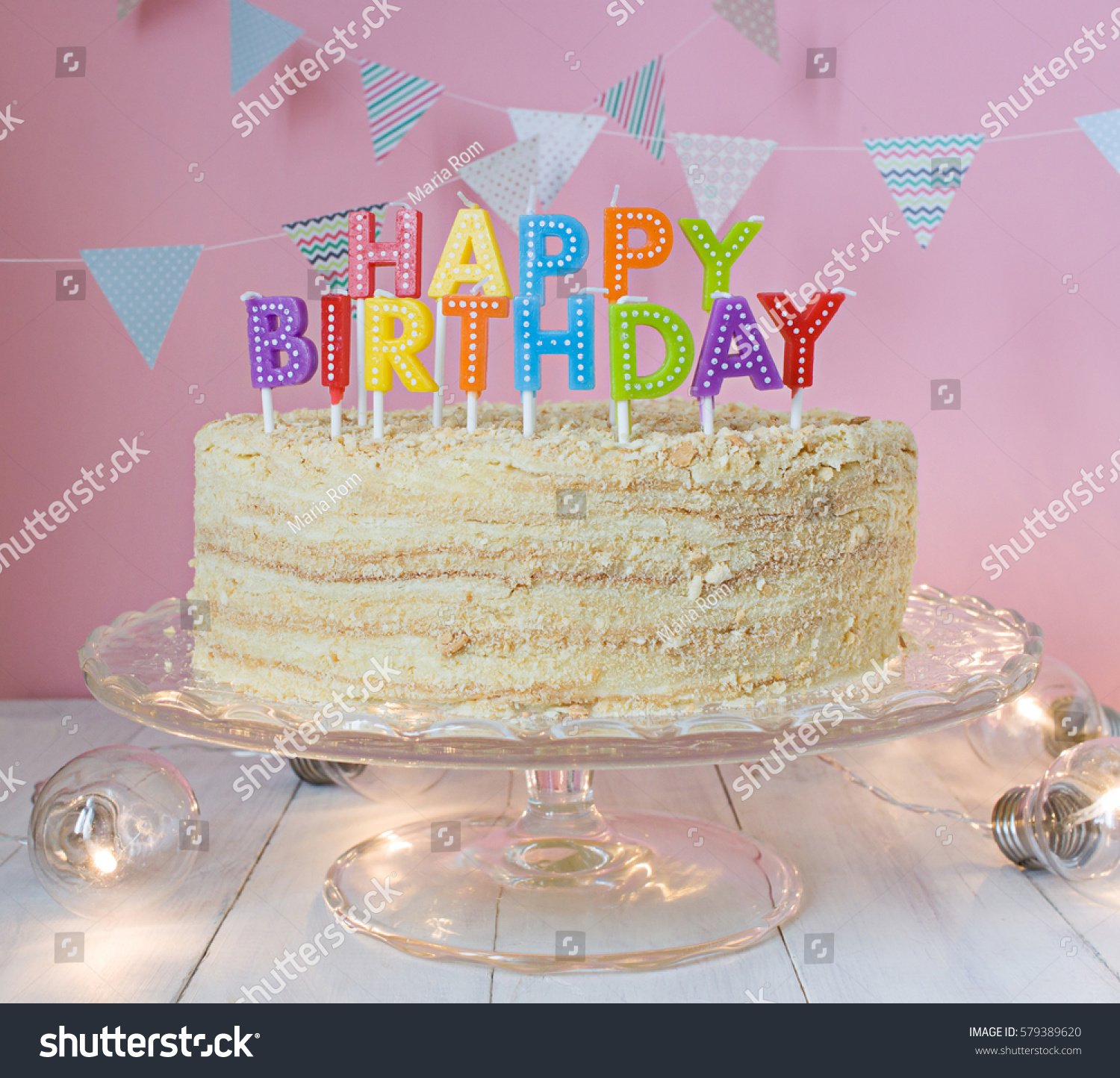 Happy Birthday Cake Flag Garland Greeting Stock Photo Edit Now