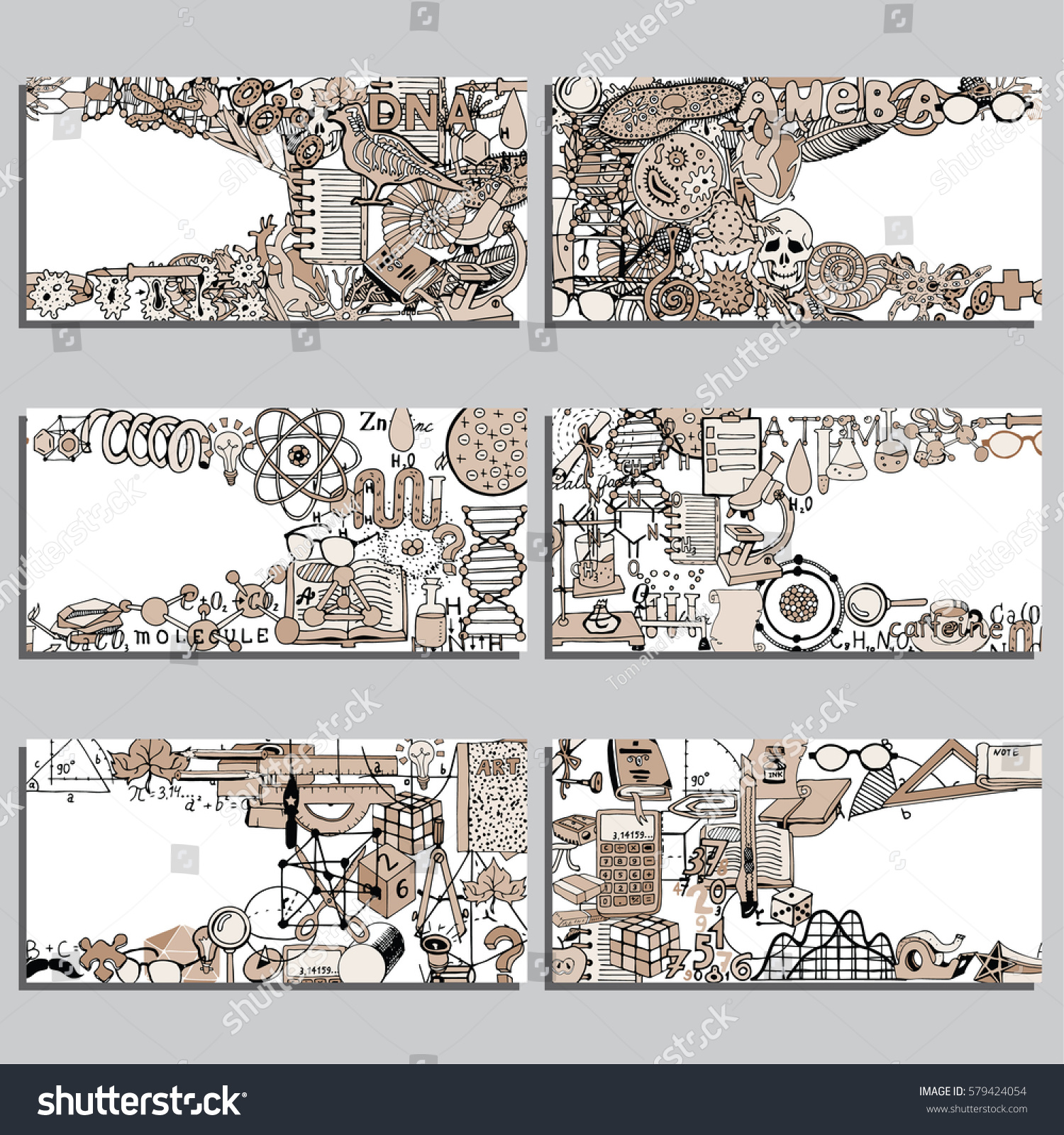 Vector Cards Notes Banners Set Biology Stock Vector (Royalty
