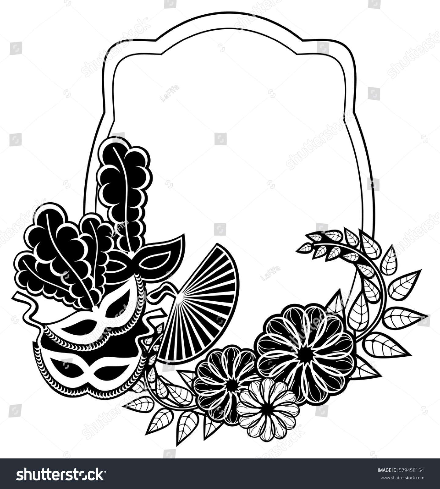 Black and white frame with floral silhouettes copy space vector black and white frame with floral silhouettes copy space vector clip art ez canvas mightylinksfo