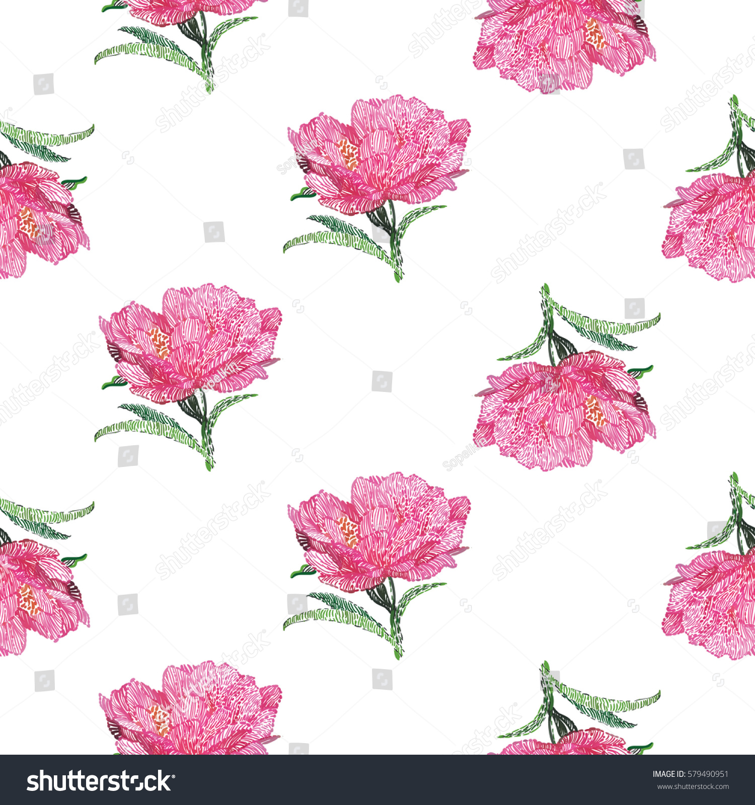 Vector Embroidery Vintage Embroidery Peony Sketch Flower Peony