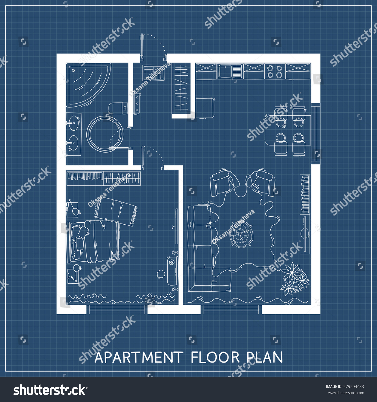 Architectural Blueprint Furniture Top View Stock Vector (Royalty