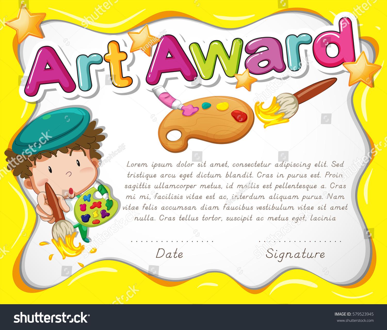 Certificate Template Artist Watercolor Illustration Stock Vector