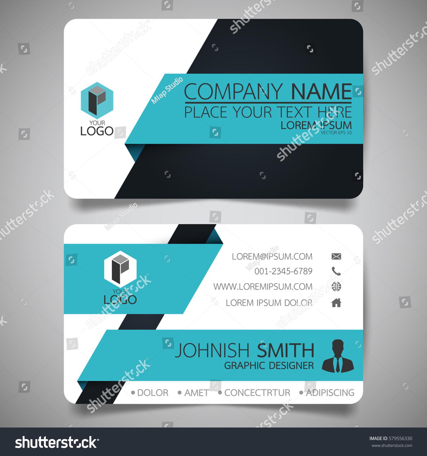 blue black modern creative business card stock vector